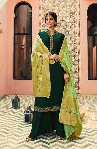 Designer Georgette Palazzo Suits With Banarasi Dupat