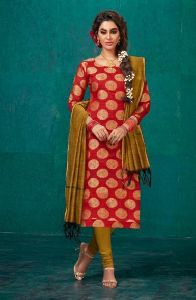 Fancy Daily Wear Banarasi Silk Churidar Suit