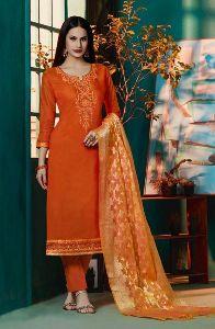Khatli Work Chanderi Silk Regular Wear Churidar Suit