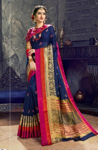 Navy Blue Cotton Silk Casual Wear Embroidery Work Saree