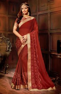 Soft Dyed Panel Work Casual Wear Fancy Saree