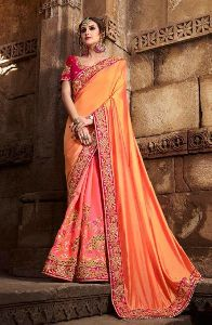 Two Tone Silk Wedding Wear Heavy Embroidery Work Saree