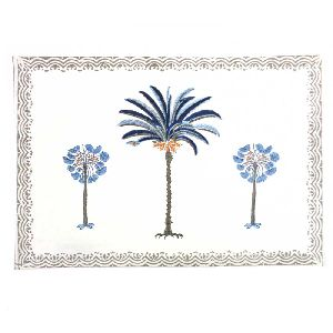 Palm Tree Blue Hand Block Printed On Cotton Canvas Table Mats