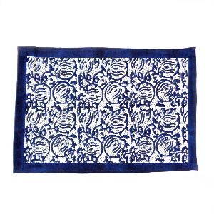 Two Lotus Blue Hand Block Printed Cotton Canvas Tablemat