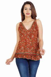 Vintage Sari Silk Womens Casual Top