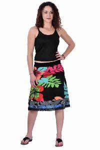 Viscose Lycra Printed Casual Wear Black Short Skirt