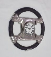 Metal Steering Wheel Black Leather Coated Decorative Analog Wall Clock