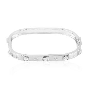 Designer White Gold Baguette Diamond Bangle