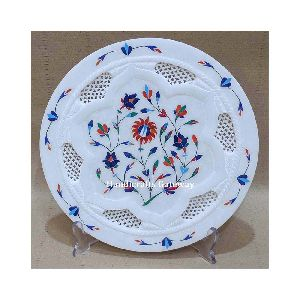 Hand Carved Marble White Decorative Plate Antique Imitation