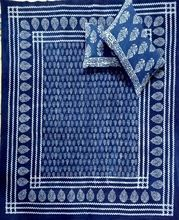 printed cotton indigo color with pillow cover bed sheet
