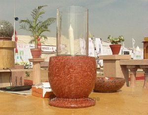 Glass Holder Red Granite Candle Stand