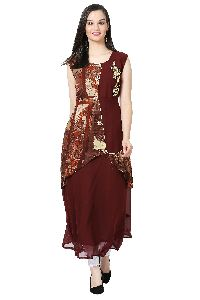Patch Work Georgette Designer Coffee Kurti