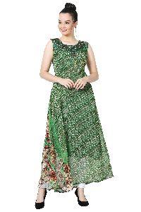 Swarovski Work Chiffon Designer Green  Kurti