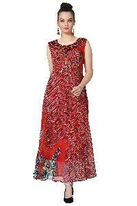 Swarovski Work Chiffon Designer Red Kurti