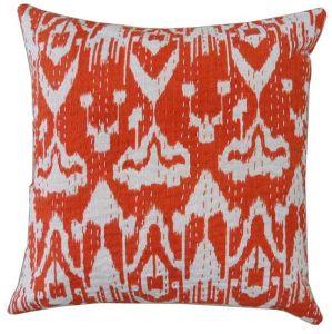 Ikat Kantha Work Cushion Cover