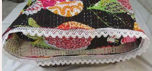 Kantha Pillow Cover With Crochet Edge
