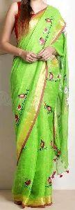 Designer Embroidery Linen Tissue Saree