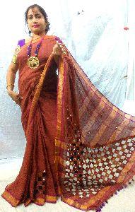 Designer Linen Cut Work Bollywood Fashion Saree