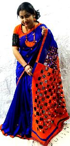 Designer Handloom Cotton Silk Cut Work Saree