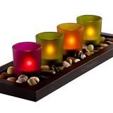 4-piece Jewel Tone Candle Tray With Genuine River Rocks