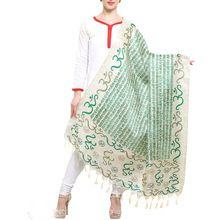 White And Green Color Art Silk Dupatta
