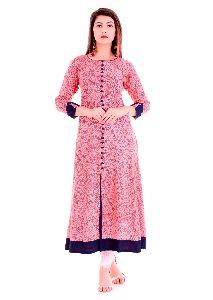 Rayon Pink Printed Anarkali Kurti