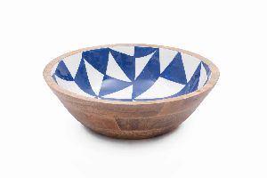 Blue White Mango Wood Bowl