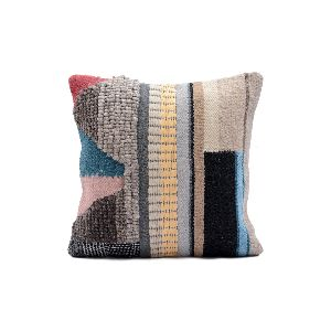 Wool Cotton Abstract Design Cushion Cover