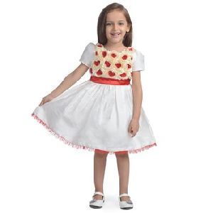 Frock Red Rose Cream Girls Party Dress Baby Net Frock