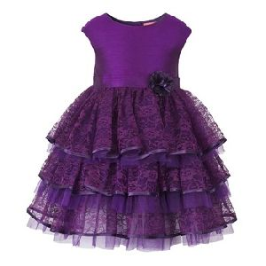 High Quality Purple Lace Layered Girls Party Dress