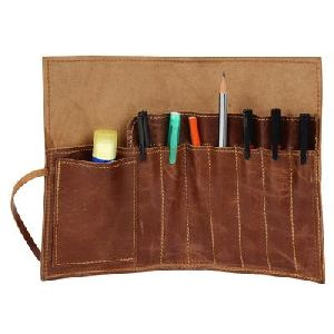 Leather Pencil Roll Up Case