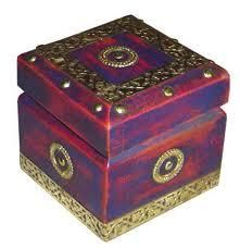 Brass And Painted Wood Box