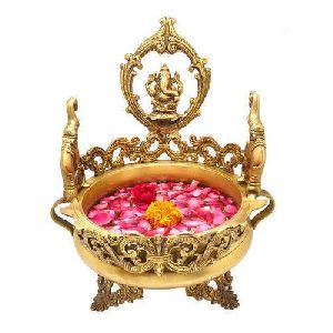 Pure Brass Ganesha Urli, Flower Vase, Thali For Floor, Unique Indian Decor