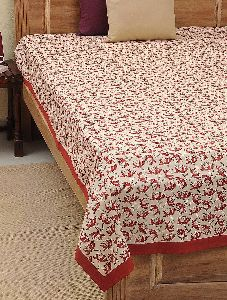 Bed Cover Hand Block Printed Red Flower