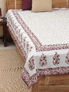 Bed Sheet Hand Block Printed Cotton Gold And Maroon Color