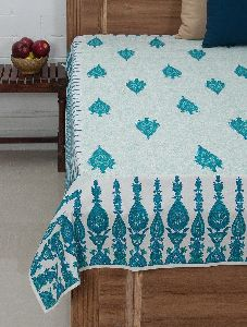 Blue-Green-White Cotton Hand-Block Printed Single Bed Cover MYBC2630