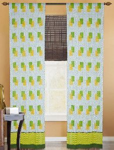 White-green-yellow Cotton Hand-block Printed Curtain