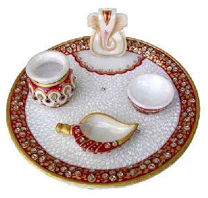 Marble Pooja Plate Ganesh Ji Diya Shank Diwali Gift