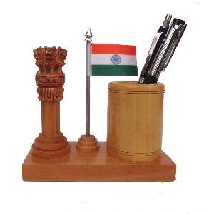 Wooden Pen Holder Ashoka Pillar With Flag