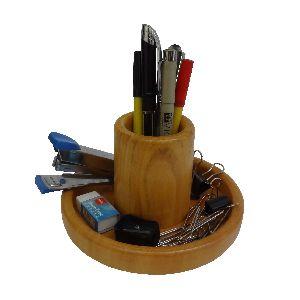 Wooden Round Pen Holder Cum Table Top Acc.