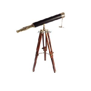 Antique Vintage Look Nautical Brass Telescope With Tripod Stand