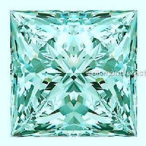 Greenish Blue 2.00 Ct Loose Moissanite 8.00 Mm Princess Brilliant Cut Gem Edh
