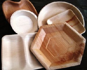 Wood Dinnerware Tableware Palm Leaf Plate Set