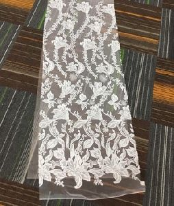 high quality white hand beaded lace fabric