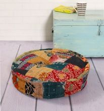Indian boho vintage kantha stitched patchwork cotton filled ottoman round