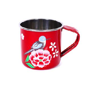 Indian rose flower coffee mug hand painted stainless steel for kitchenware camping  water cup