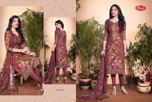 Pari Suit Lawn Cotton Digital With Embroidery Work