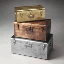 Hand Made Metal Trunk Set Nested Antique Finish Iron Trunks
