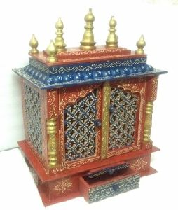 Hand Painted Indian Wooden Temple