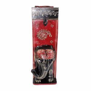 Wooden Handicraft Traditional Elephant Design Wine Bottle Box